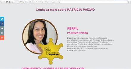 Homenagem feita pelo prêmio Professor IMPRENSA, da Revista IMPRENSA.
